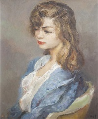 jeune femme au déshabillé bleu by marcel dyf