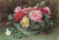 still life with a bowl of pink, yellow and red roses by constance b. lawson