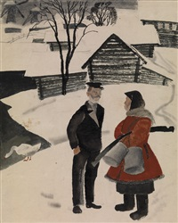 a little chat (illustration for krasnyi perets) by nikolai nikolaevich kupreyanov