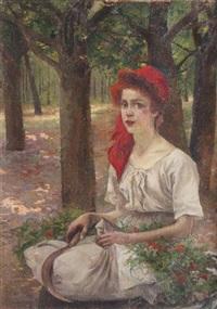 jeune fille après la cueillette by michel korochansky