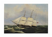 three-masted ship at sea by american school