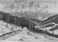 winterlandschaft in den bergen mit birken im vordergrund by bruno lauterbach