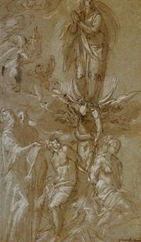 adam et eve près de l'arbre de la tentation avec l'immaculée conception et d'autres saints by leonardo corona
