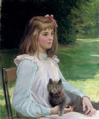 young girl with a cat by george percy r. e. jacomb-hood