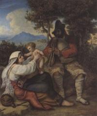 italienische bauernfamilie by louis (julius ludwig) asher