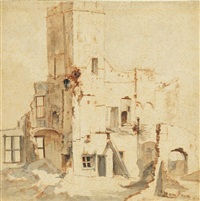 the ruins of the city hall in amsterdam by jan abrahamsz beerstraten