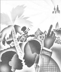 stylized landscape with lure of big city by ben jorj harris
