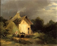 paysanne devant une chaumière by robert léopold leprince