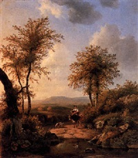 a woman riding a donkey in an italianate landscape by arie ketting de koningh