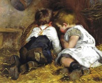 children playing in a barn by helen mable trevor