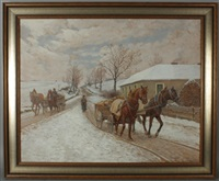 2 pferdefuhrwerke im winter by hermann reisz