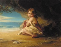 a young girl by the shore by robert herdman