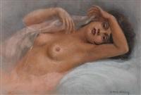 weiblicher liegender halbakt by ivan g. olinsky