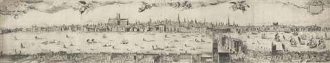 a panoramic view of london after claes jansz visscher one work on 4 sheets by francesco valesio