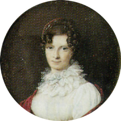 a lady with dair hair in a white dress with frilled lace ruff and a red shawl by louis françois aubry