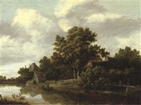 a wooded river landscape with a peasant crossing a bridge and fishermen in a boat, cottages nearby by salomon rombouts