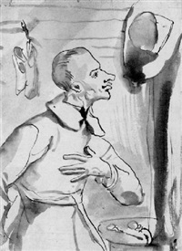 caricature of a man in an interior by giovanni battista pace