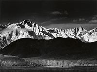 winter sunrise, sierra nevada, from lone pine, california by ansel adams