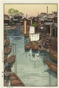 urayasu - blick auf den kleinen binnenhafen vom urayasu mit ruderbooten by toshi yoshida