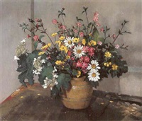 flowers on a painting table by allan gwynne-jones
