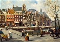 prinsengracht met de noorderkerk te amsterdam by jan geerard smits