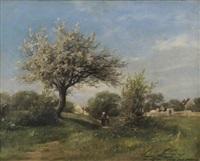paysage à la ferté sous jouarre by louis marie lemaire