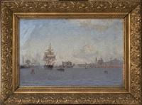 göteborgs hamn med fartyg och christinae kyrka by ludvig otto richarde
