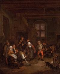interieur mit tanzendem bauernpaar, violinspieler und weiteren personen by daniel boone