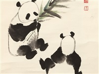pandas in a bamboo grove, scroll painting by wu zuoren