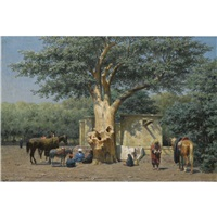 the well and sycamore in ezbekieh square, cairo by willem de famars testas