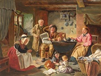 family in the kitchen by john faed