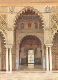 porte mauresque dans le patio de l'alhambra moorish by f. liger hidalgo