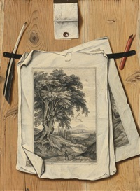 trompe l'oeil with landscape prints on a letter-rack by dutch school-southern (17)