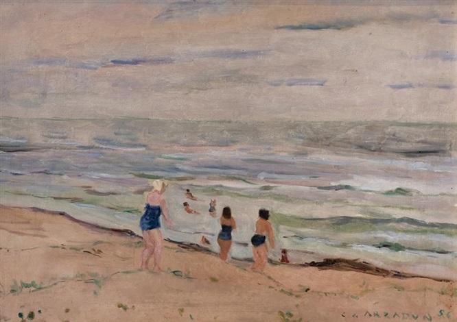playa y bañistas by carmelo de arzadún