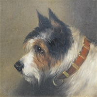 a black and tan terrier and a black, white and tan terrier (2 works) by edward aistrop