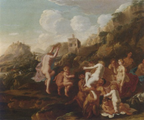 an italianate landscape with a bacchanalia by claes nicolas jacobsz tol