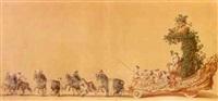bacchus dans un char tiré par huit chevaux by charles hutin