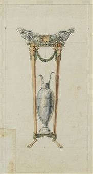a design for a toilet set shaped as an athénienne by giuseppe valadier