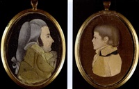 a portrait of a gentleman (+ a portrait of a boy, verso) by mary way