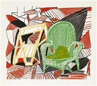 two pembroke studio chairs, from moving focus by david hockney