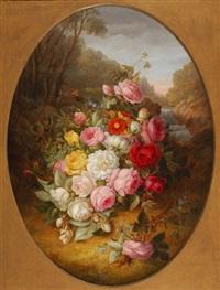 buisson fleuri dans un paysage by jean-baptiste robie
