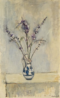 vase mit blütenzweigen by viktor lederer