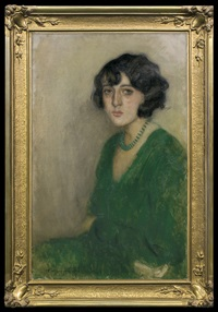 lady in a green dress by alfons karpinski