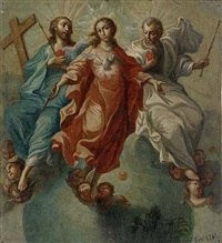 la santísima trinedad con la virgen by miguel cabrera