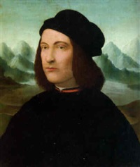 portrait of a young gentleman, bust-length, in black costume and a hat by conrad (von creuznach) faber