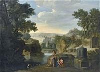 paesaggio fluviale con figure by joseph booth