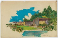 handcolored drawing for the schick house, salt lake city, ut by richard neutra