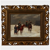 prussian infantry receiving directives; prisoner of war in a blizzard (pair) by christian sell