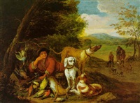 a huntservant and hounds at rest with dead game birds under a tree, huntsmen beyond by anton de gryeff