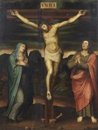 christ en croix entouré de la vierge et saint jean by joan de joanes